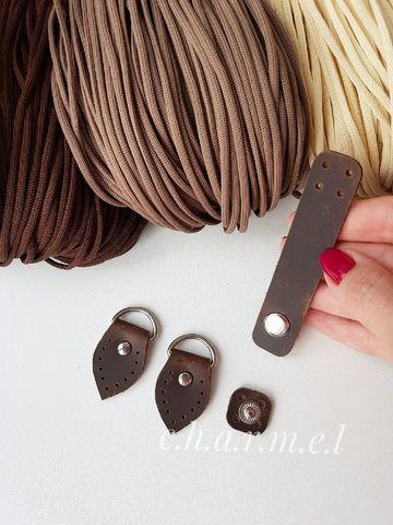 Набор боковые крепления для ручки+застежка на кнопке, цвет Шоколад