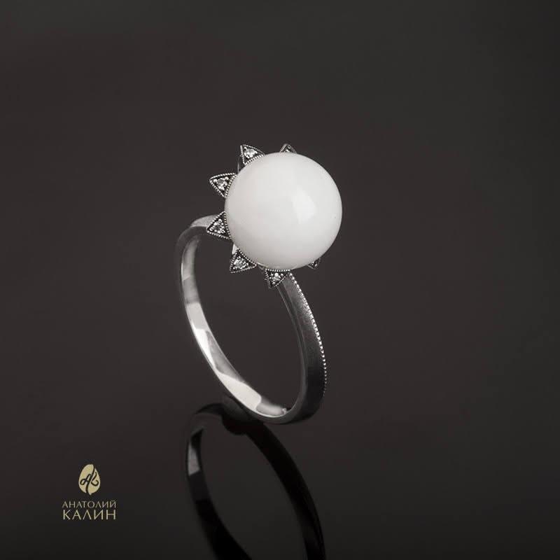 NEW! Кольцо с белым нефритом и серебром Sola Кольцо-Сола-бел_1.jpg