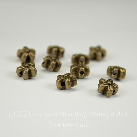 """Бусина металлическая """"Цветочек"""" 7х7 мм (цвет - античная бронза), 10 штук"""