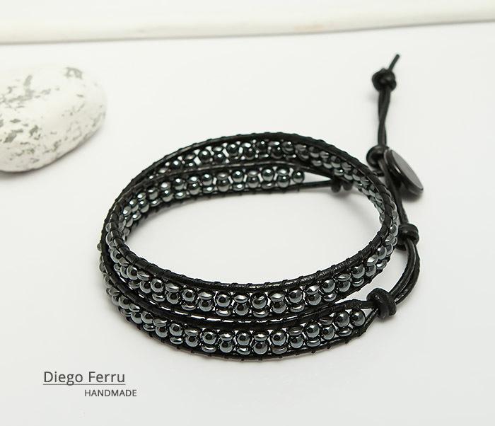 BS748 Красивый браслет из натурального гематита ручной работы, Diego Ferru фото 03