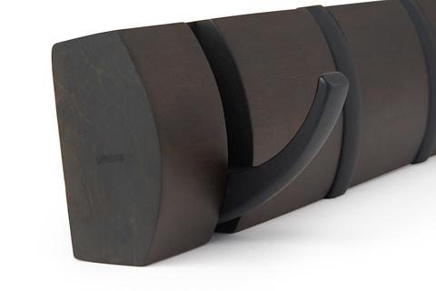 Вешалка настенная горизонтальная Flip 5 крючков орех