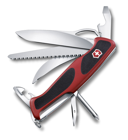 Нож Victorinox RangerGrip 58 Hunter, 130 мм, 13 функций, красный с черным