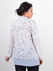 Нурі. Весняна блуза плюс сайз. Білий + квіти.