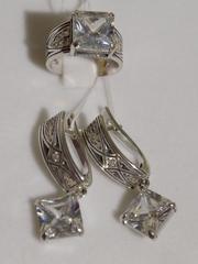 Венгра (кольцо + серьги из серебра)