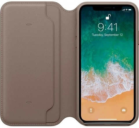 Клип-кейс Apple Leather Folio для iPhone X (платиново-серый)