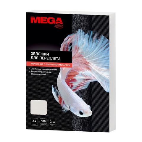 Обложки для переплета картонные Promega office A4 250 г/кв.м белые текстура металлик (100 штук в упаковке)