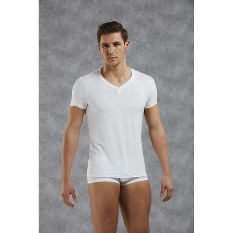 Мужская футболка белая с v-образным вырезом Doreanse 2860