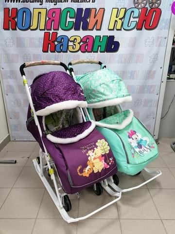 Санки-коляска для двойни NIKA KIDS Дисней беби 2 (Фиолетовый-мятный)