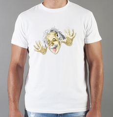Футболка с принтом Альберт Эйнштейн (Albert Einstein) белая 0012