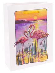 Пакет подарочный с глянцевой ламинацией 18x23x8 см (M) Фламинго на закате.