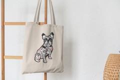 Сумка-шоппер с принтом Собака, Французский бульдог (Dog) бежевая 007