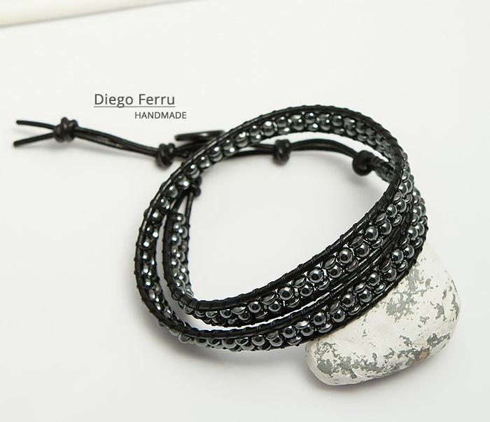 BS748 Красивый браслет из натурального гематита ручной работы, Diego Ferru фото 05