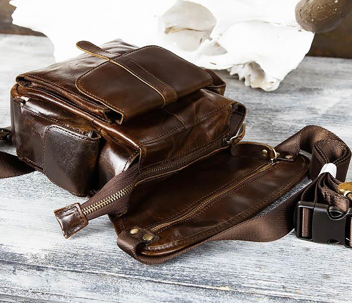 BAG443-2 Вместительная сумка на бедро из натуральной кожи фото 03
