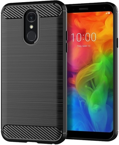 Чехол LG Q7 (Q7+, Q7 Alpha) цвет Black (черный), серия Carbon, Caseport