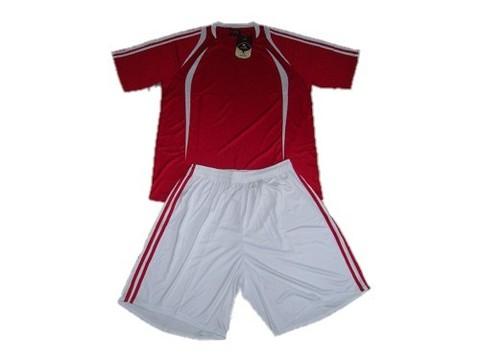 Форма футбольная взрослая. Футболка - красная с белыми вставками, шорты - белые с красными полосами по бокам. Размер L :(L):
