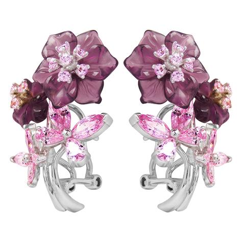 Серьги из серебра с цветами из фианита и кварца Арт.2203фрр