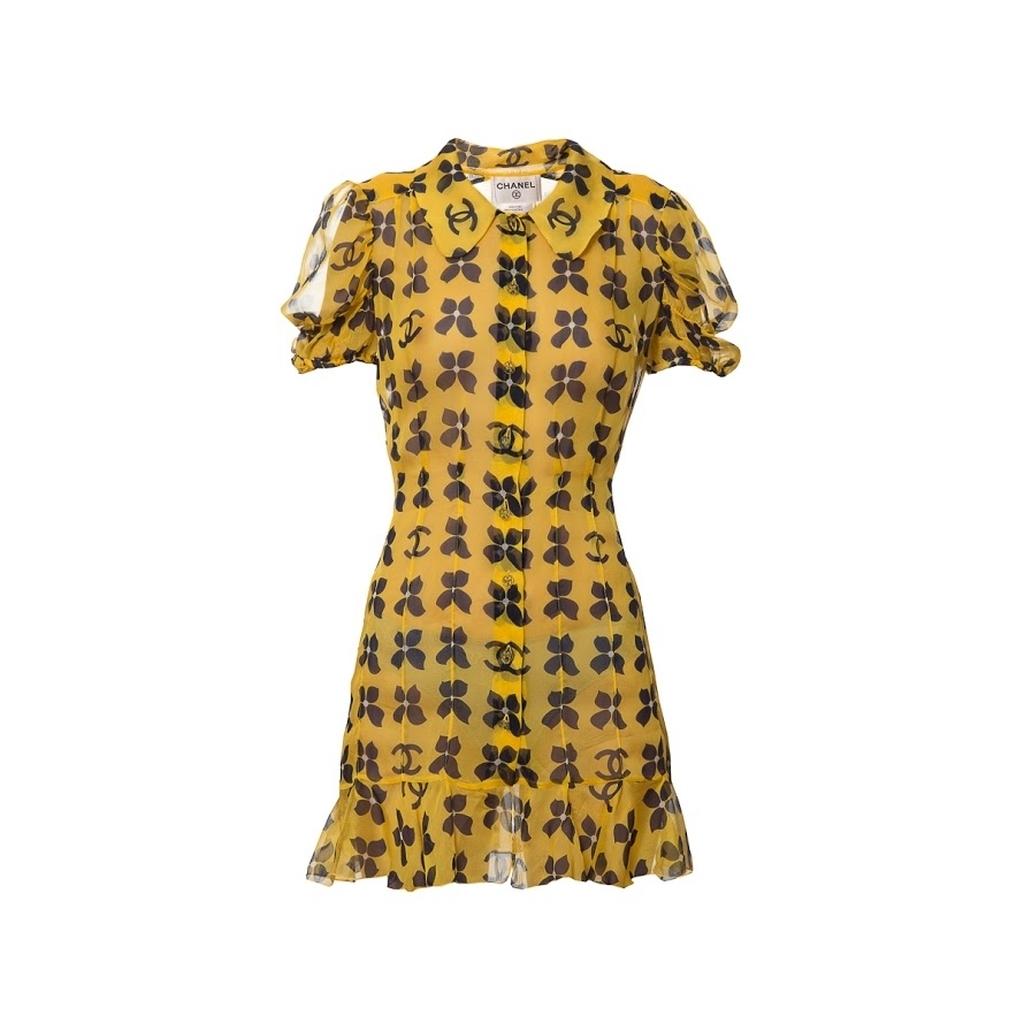 Стильное мини-платье из легкого шелка желтого цвета от Chanel, 34 размер