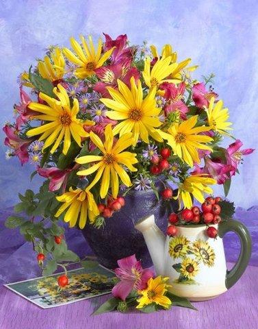 Алмазная Мозаика 30x40 Цветы и ягоды