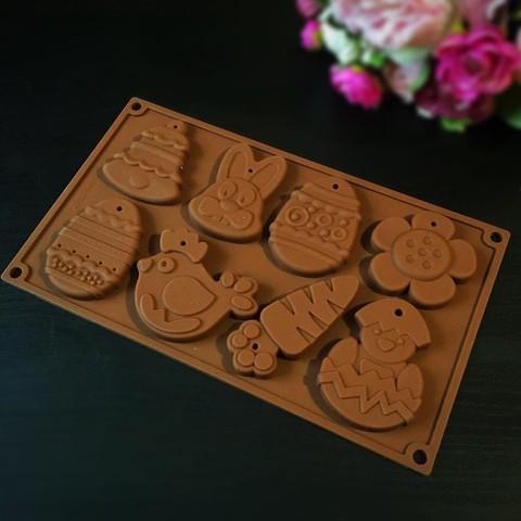 Силиконовая форма для шоколада Пасхальный набор 8в1 (колокольчик, яйцо,кролик, курица, цыпленок, цветок, морковь) (55мм, 85мм, 70мм)