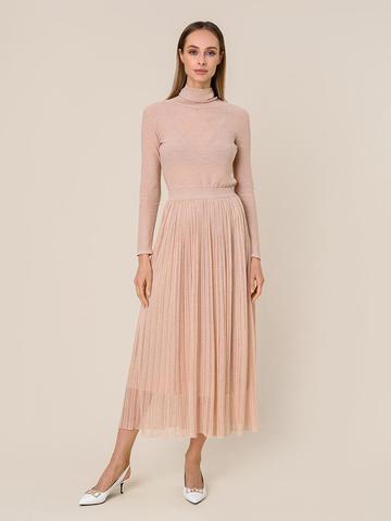 Женская двухслойная юбка золотого цвета из вискозы - фото 2