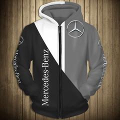 Толстовка утепленная с молнией 3D принт, Mercedes-Benz (3Д Теплые Худи с молнией Мерседес-Бенц) 01