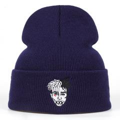 Вязаная шапка с отворотом и вышивкой XXXTentacion (Тентасьон), синяя