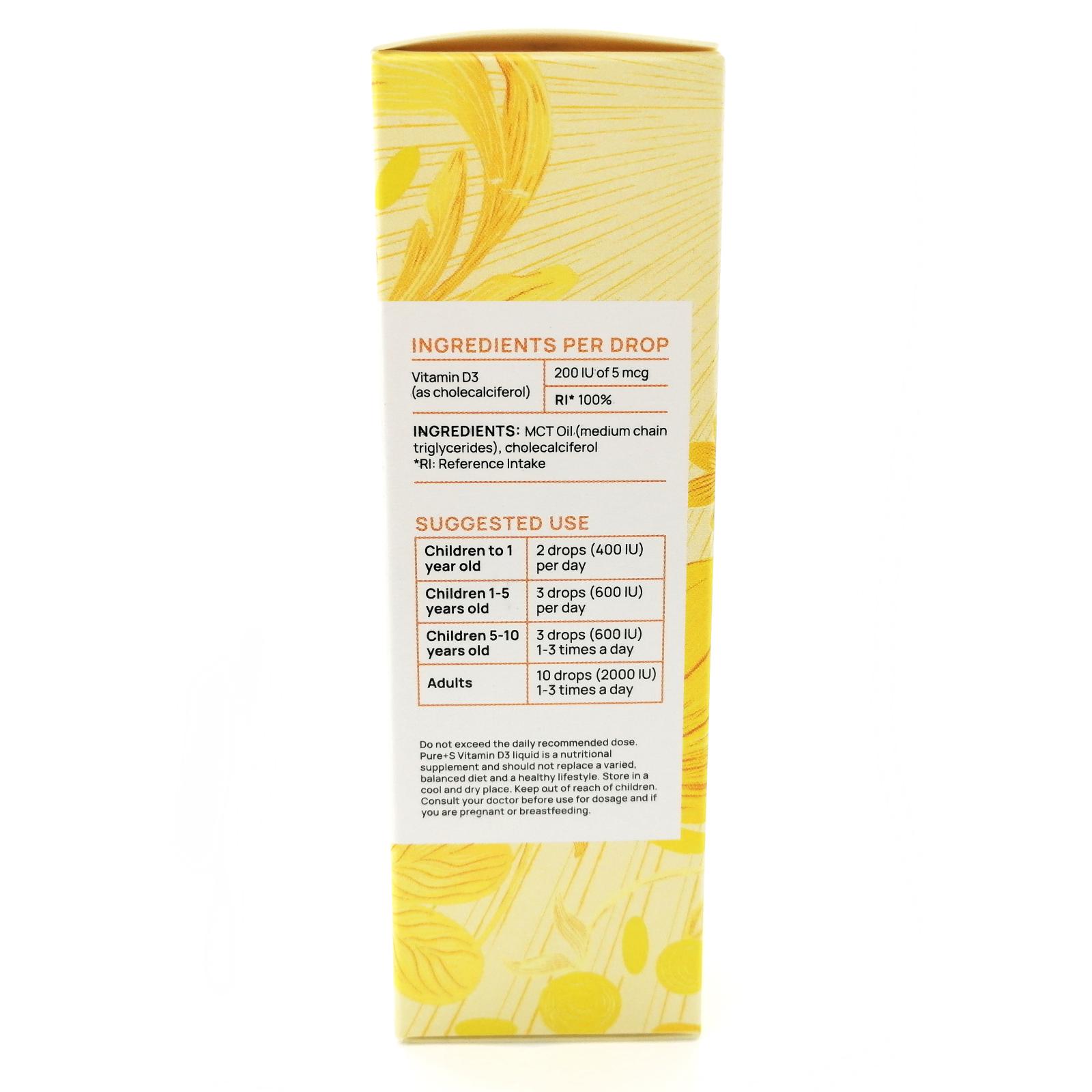 Vitamin D3 MCT Oil, PURE+S, 50 ml