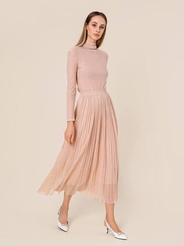 Женская двухслойная юбка золотого цвета из вискозы - фото 4