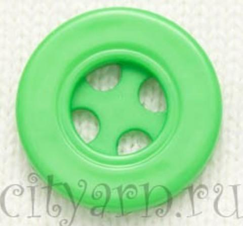 Пуговица круглая с декоративными отверстиями, малая, кислотно-зелёная