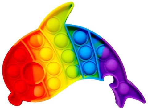 Поп Ит Игрушка антистресс Вечная пупырка Попит 17 х 14 см разноцветный дельфин POP IT