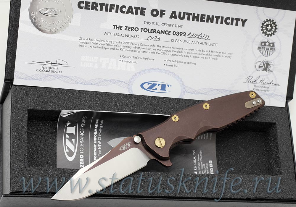Нож Zero Tolerance 0392BRNGLD Rick Hinderer Limited Edition - фотография