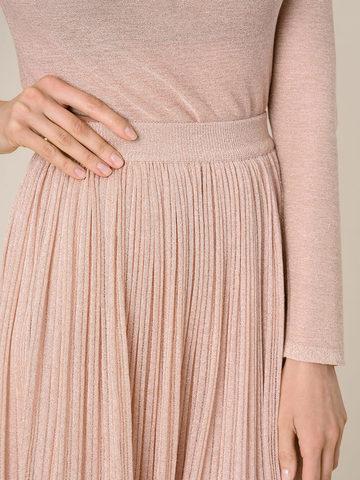 Женская двухслойная юбка золотого цвета из вискозы - фото 6