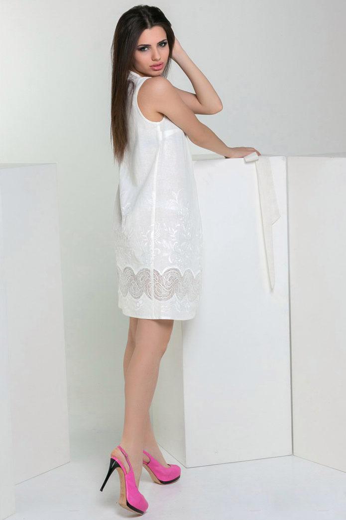 Летнее льняное платье с вышивкой и поясом, белое