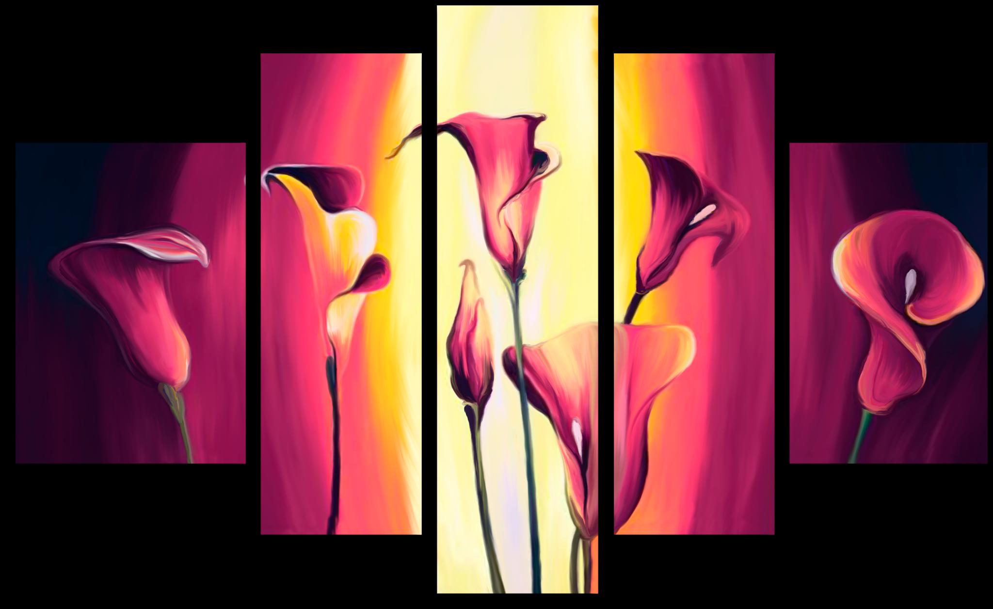 """Цветы Модульная картина """"Лиловые каллы"""" М471.png"""