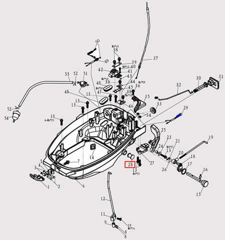 Заглушка Φ15*25 для лодочного мотора F9.8 Sea-PRO (2-28)