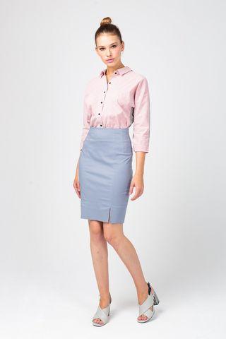 Фото юбка-карандаш серебристого цвета с двумя разрезами - Юбка Б122-341 (1)