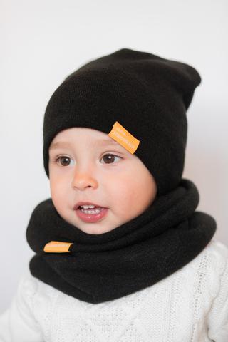 детская шапка из турецкой шерсти черная