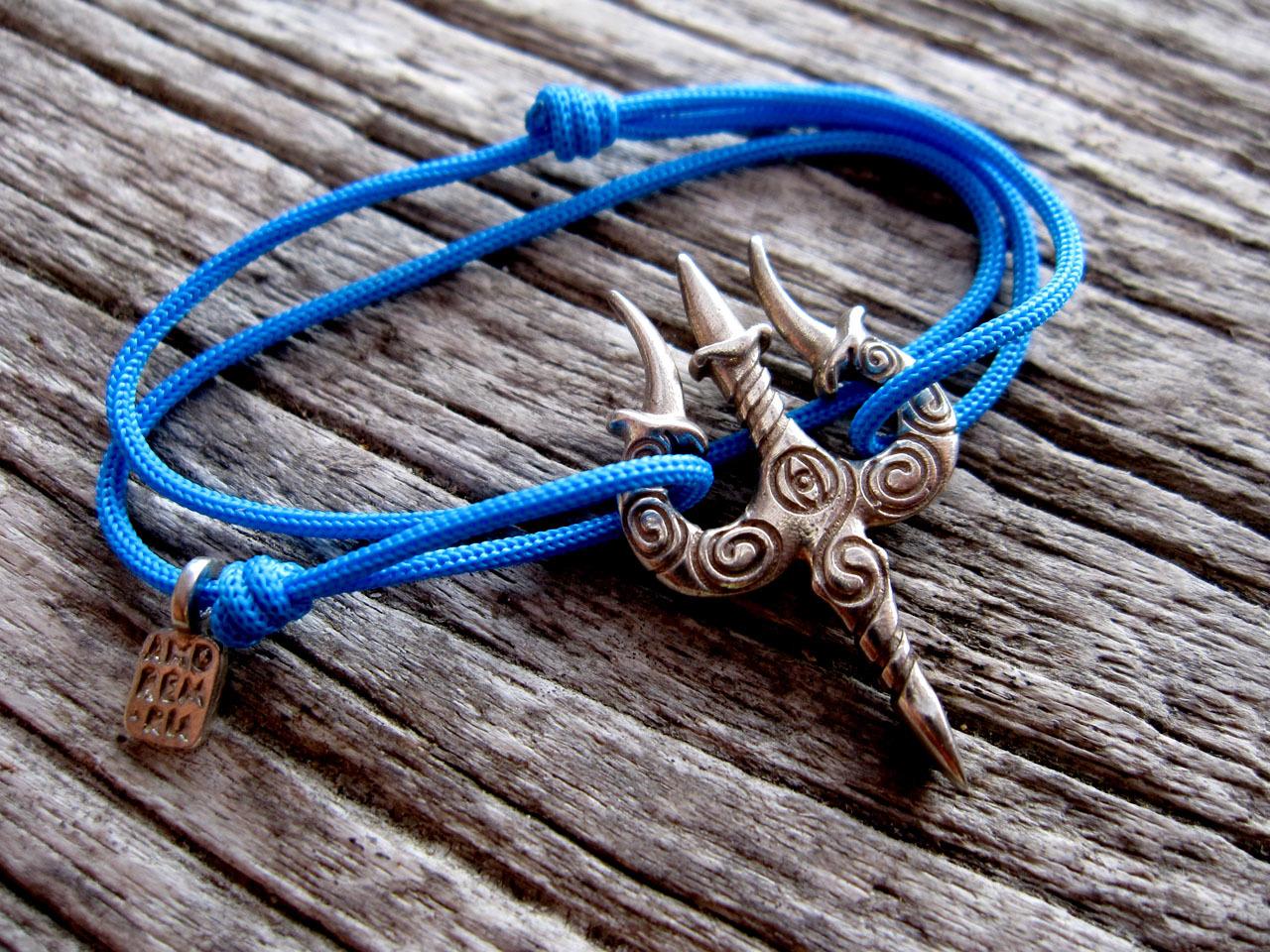 Trishul Bracelet, sterling silver