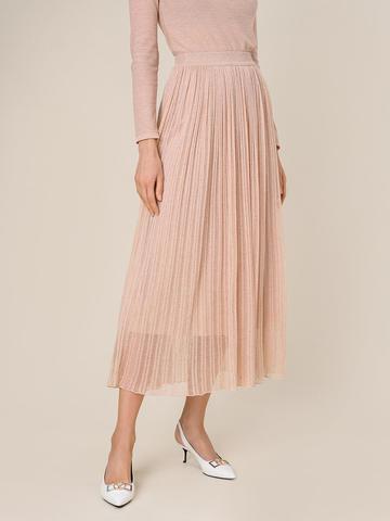 Женская двухслойная юбка золотого цвета из вискозы - фото 3