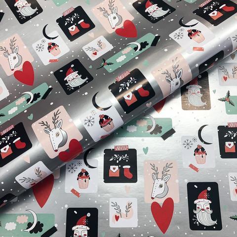 Бумага подарочная упаковочная Новогодние этикетки (Италия)