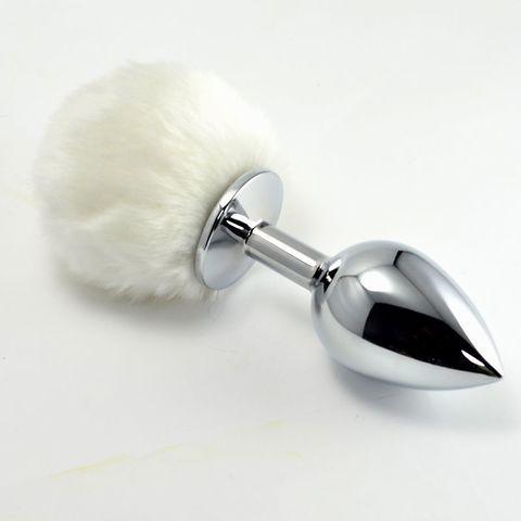 Металлическая пробка с белым хвостом  Задорный Кролик  - 11 см.