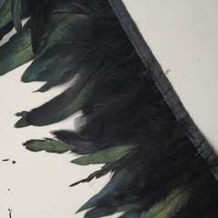 Тесьма  из перьев петуха h-15-18 см, черный (уценка)