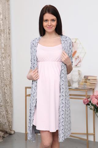 Комплект для беременных и кормящих с халатом и сорочкой 09972 серый-розовый