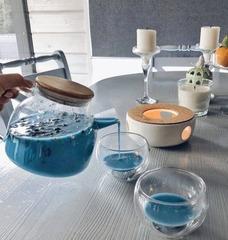 Чайник с подогревом от свечи на керамической подставке, 1 литр