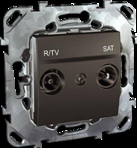 Розетка R-TV/SAT проходная. Цвет Графит. Schneider electric Unica Top. MGU5.456.12ZD