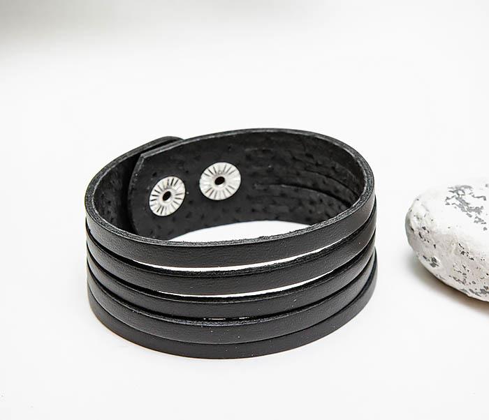 BL791-1 Мужской кожаный браслет «Полосы», ручная работы фото 03