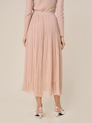 Женская двухслойная юбка золотого цвета из вискозы - фото 5