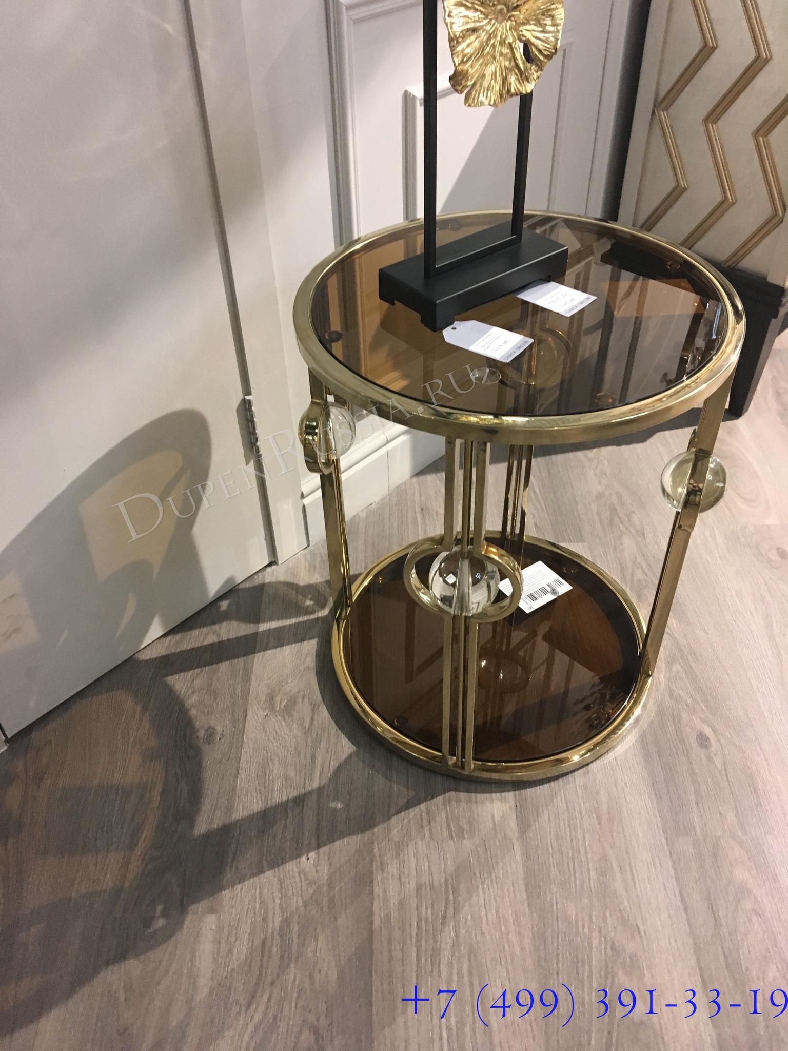 Стол журнальный 13RXET6034-GOLD стекло коричн./золото 50*50*60см