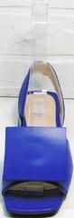 Летние кожаные босоножки квадратный носок женские Amy Michelle 2634 Ultra Blue.