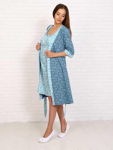 Мамаландия. Комплект для беременных и кормящих, цветы на голубом